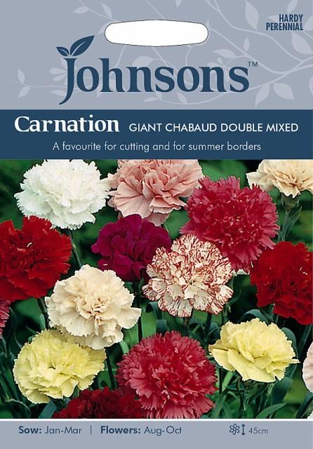 【輸入種子】 Johnsons Seeds Carnation GIANT CHAUBAUD DOUBLE MIXED カーネーション ジャイアント・シャボー・ミックス