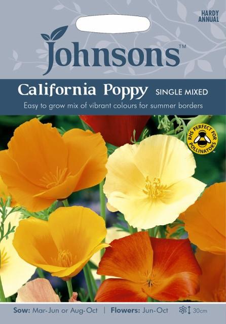 【輸入種子】Johnsons Seeds Californian Poppy(Eschscholzia) Single Mixed エスコルシア(カリフォルニアポピー)・シングル・ミックス