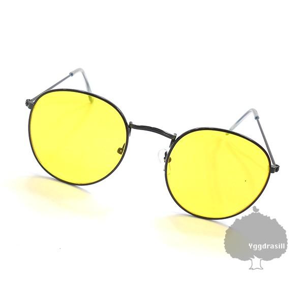 オーバル サングラス 丸メガネ 黄色レンズ×黒フレーム イエロー g-dragon GD 伊達メガネ 韓国 ファッション 韓流
