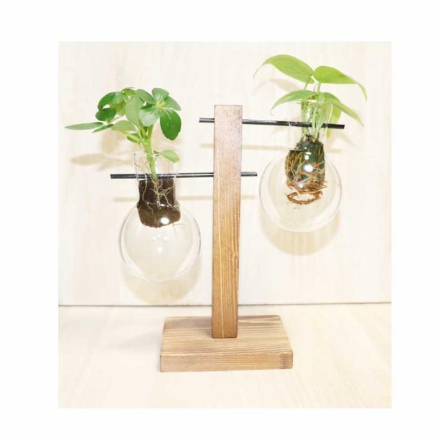 木製花瓶スタンド 水耕栽培花瓶 卓上花瓶 植物栽培ガラス 水栽培容器 ハイドロカルチャー フラスコ2個 fbg-2