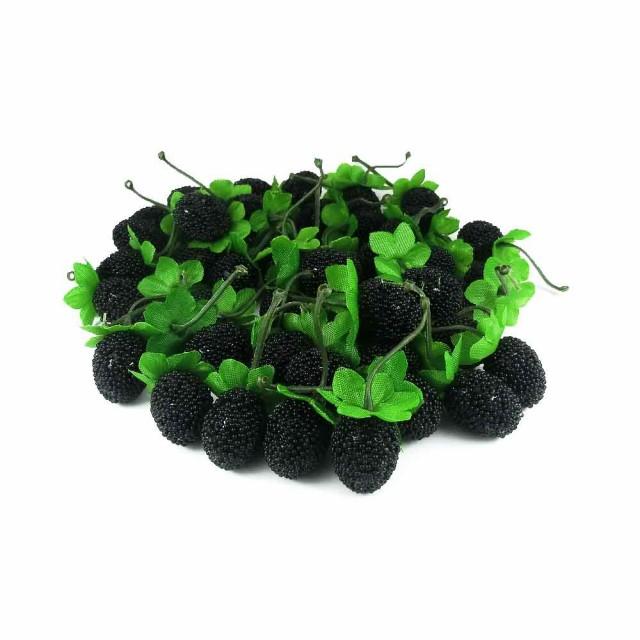 GuCra グクラ 果物模型 ラズベリー (ノーマル) 木苺 50個パック 食品サンプル (ブラック)