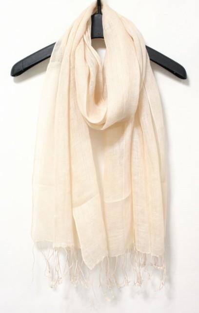 フランスの天然リネン亜麻100%♪UVカット大判ストール スカーフ ショール マフラー♪落着きベージュ