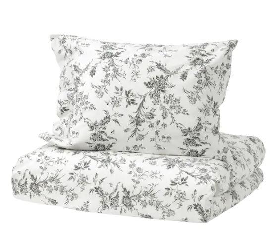 IKEA イケア ALVINE KVIST アルヴィーネ クヴィスト 掛け布団カバー 枕カバー ベッドリネン 花柄 綿生地 くるみボタン付き 柔らかな肌ざ