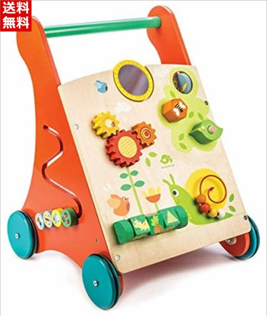 tender leaf toys 木製 知育遊び付き手押し車 かわいいイギリスデザインのベビーウォーカー オモチャ おもちゃ つかまり立ち 赤ちゃん 男