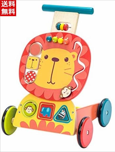 Labebe 子供ウォーカー プッシュ プル手押し車おもちゃ ワゴントイ カタカタ 歩行器 - ピンクライオン