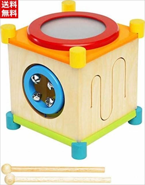 知育玩具 木のおもちゃ メロディーキューブ 音の出るおもちゃ 鉄琴 太鼓 ギロ 鈴 ドラム シンバル 楽器 誕生日 プレゼント 男の子 女の子