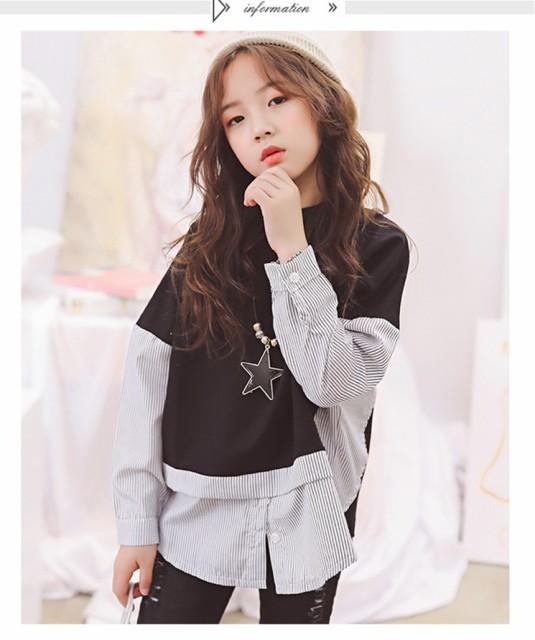 dc979510a5b53 韓国 子供服 セットアップ 女の子 長袖 Tシャツ ジーンズ ブラウス フェイクレイヤード 上下セット 120