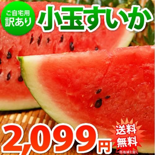 すいか 送料無料 小玉スイカ 熊本県産 ご自宅用 訳あり S~Mサイズ 2玉 計約2.3~2.5kg 一部地域は追加送料