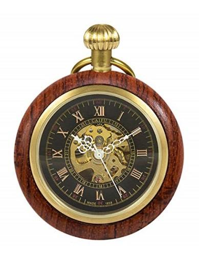 木製 ウッド懐中時計 アンティーク 手巻き レトロ 機械式