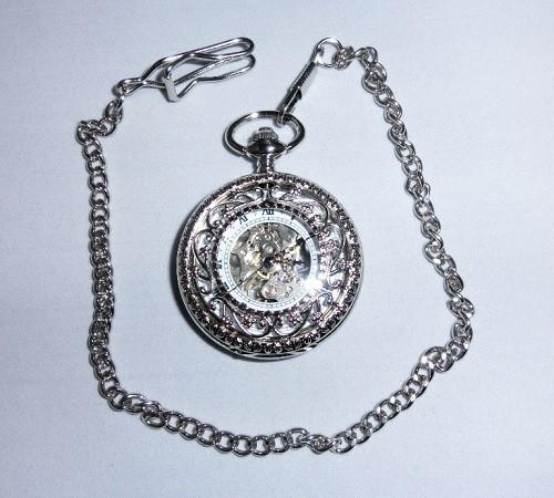 機械式 手巻き 懐中時計 アンティーク 風 蓋つき 両面 スケルトン 時計