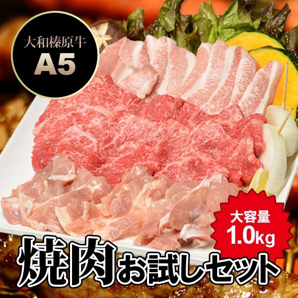 焼肉お試しセット 1.0kg 大和榛原牛カルビ 300g+銘柄鶏 300g+豚トロ 200g+粗挽きウィンナーソーセージ 5本 送料無料