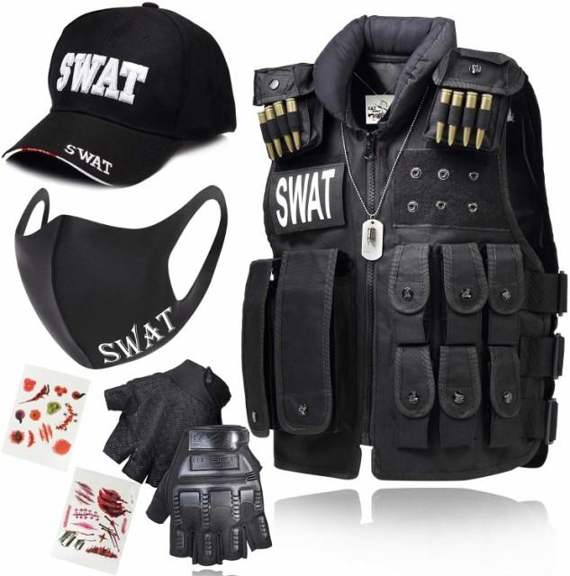 SWATベスト ハロウィン 仕様 フルセットタイプ SWATキャップ ハーフフィンガーグローブ ドックタグネックレス キズシール SWATマスク セ
