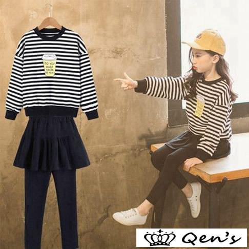 5438b7211a018 韓国子供服 女の子2点セット 上下セット スカジャン キッズ スタジャン&スカート付きレギンス