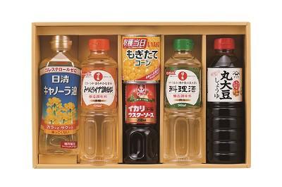 NEWコーンと調味料セット 醤油 おすすめ ヤマサ醤油 キャノーラ油 日清 料理酒 みりん イカリ ウスターソース コーン缶詰 詰め合わせセッ