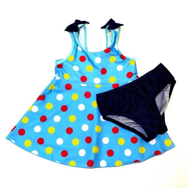 セール ワンピース水着 B de R ビーデアール 肩リボン マルチドット パンツ付き 子供服 キッズ 女児用 女の子 1974-13038 青 ブルー