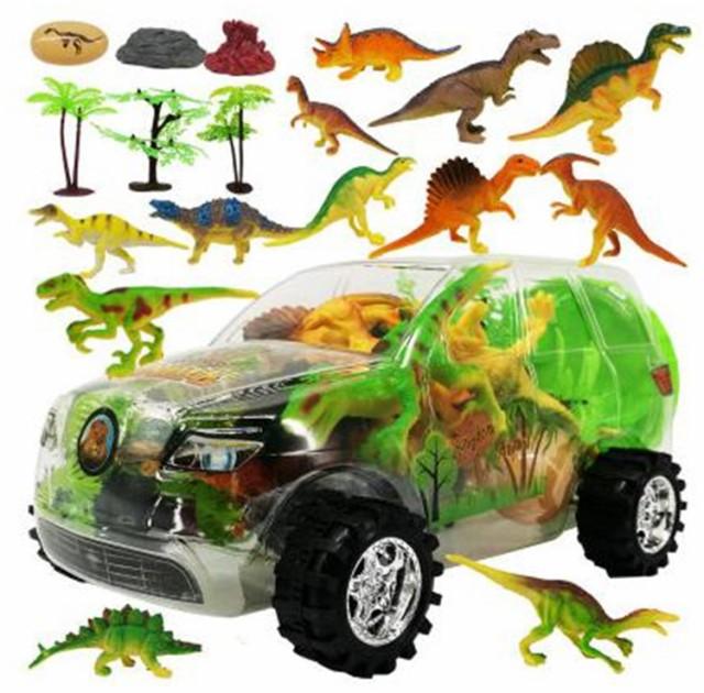【送料無料!】恐竜 フィギュア セット 透明 車型収納ケース付き リアル 子供 おもちゃ ミニ 模型 玩具 ダイナソー ティラノサウルス