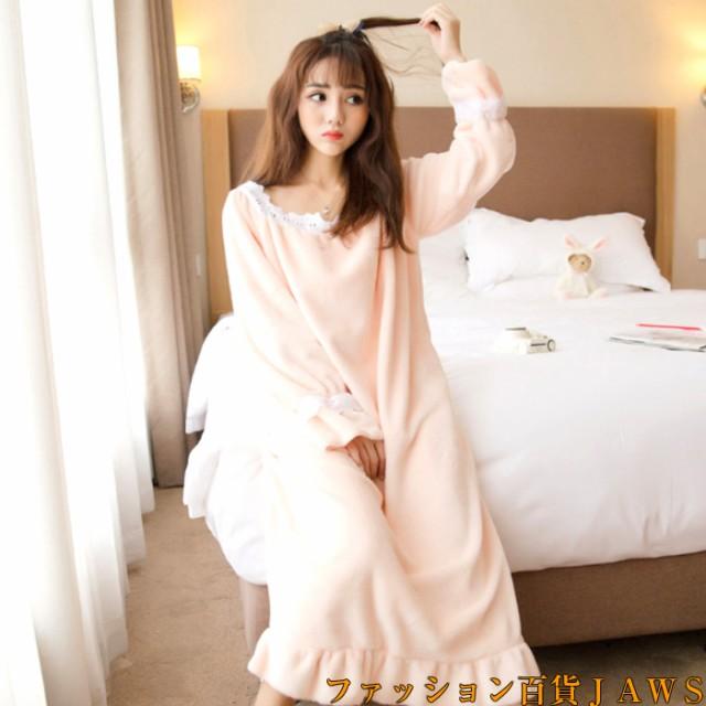パジャマ ルームウェア 姫系 ワンピース もこもこ ふわもこ レディース ゆったり ネグリジェ 冬 秋 かわいい 部屋着 ナイトウェア 寝巻き