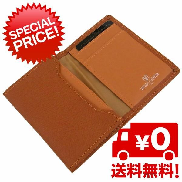 箱無し メンズ カードケース 本革 牛革LUCIANO VALENTINO ルチアーノ バレンチノ 名刺入れ オレンジ luv9006or