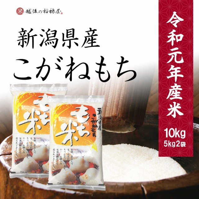 米 新潟産こがねもち10kg お米 令和元年産 送料無料 (一部地域のぞく) もち米