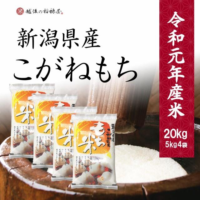 新潟産こがねもち20kg / 令和元年産 送料無料 (一部地域のぞく) もち米