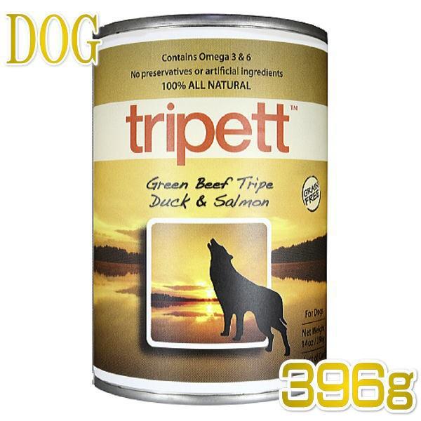 最短賞味2022.6・ペットカインド 犬 トライペット グリーンビーフトライプ ダック&サーモン 396g缶 tripett正規品pkt00030