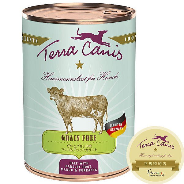 最短賞味2023.6・テラカニス 犬 グレインフリー 仔牛肉 400g缶 コンプリート食ドッグフードTerraCanis 正規品tc22367