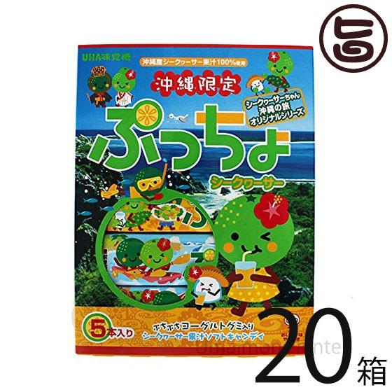 味覚糖 沖縄限定 ぷっちょ シークヮサー味 5本入り×20箱 ご当地 沖縄土産 送料無料
