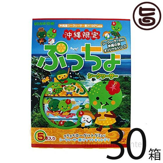 味覚糖 沖縄限定 ぷっちょ シークヮサー味 5本入り×30箱 ご当地 沖縄土産 送料無料