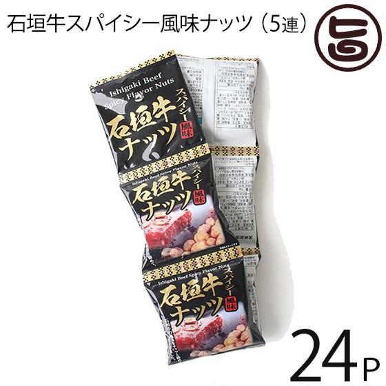 沖縄パイオニアフーズ 石垣牛スパイシー風味ナッツ 16g×5袋×24セット (5連タイプ) 沖縄 土産 定番 人気 おつまみ 個包装 食べきりサイ