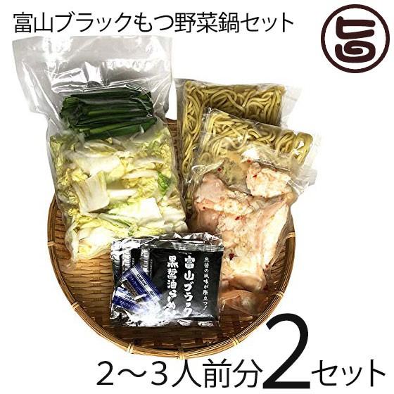 サンフーズ 富山ブラック もつ野菜鍋セット 〆らーめん入 2〜3人前×2セット 麺家いろは監修 ブラックスープ 条件付き送料無料