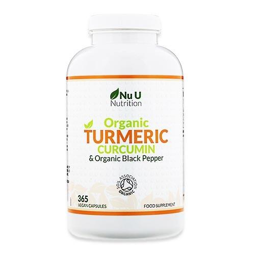 オーガニックターメリッククルクミン&オーガニックブラックペッパー 365粒 ビーガンカプセル NU U Nutrition (ニューユーニュートリショ