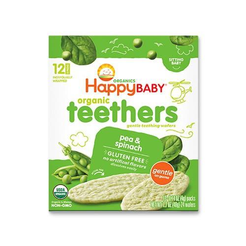 6か月からのオーガニックベビーフード Teethers エンドウ豆 ホウレンソウ 24枚入り Happy Baby(ハッピーベイビー)