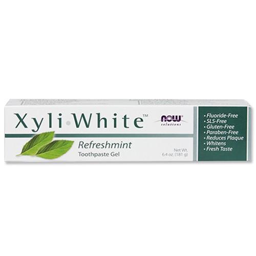 キシリホワイト リフレッシュミント歯磨きジェル 181g NOW Foods(ナウフーズ)