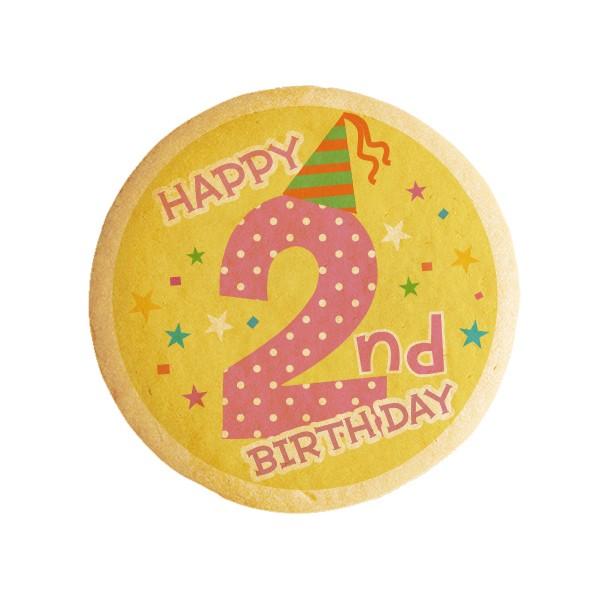 【HAPPY 2nd BIRTHDAY】2歳の誕生日をお祝いするメッセージクッキー《誕生日・プチギフト》【プリ