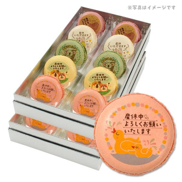送料無料 産休 お菓子 あいさつ かわいいアニマルイラスト メッセージマカロン 20個セット スイーツ ギフト