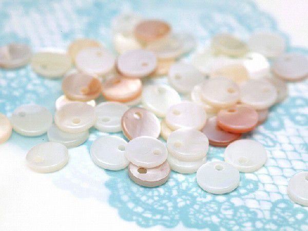 シェルパーツ(約6mm)約50個セット 丸 ラウンド型 1つ穴 シェルチャーム プレート アクセサリーパーツ 手芸材料 天然 貝 素材