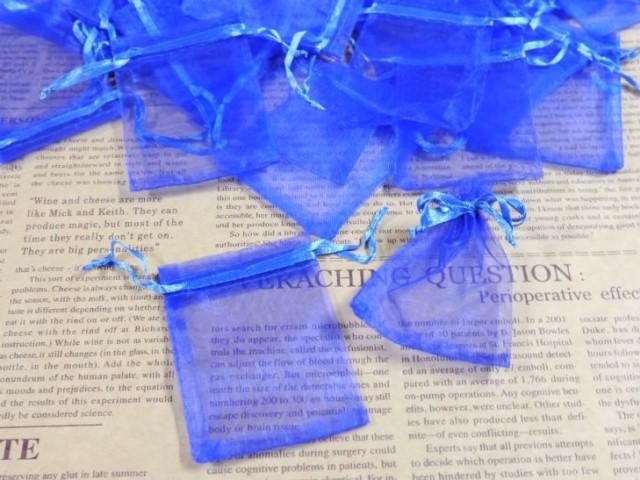 【お盆も発送!】 ジュエリー袋 オーガンジー四角 約90枚 約9x6.3cm ブルー ケース ポーチ 巾着袋 アクセサリー入れ ラッピング用品 ギフ