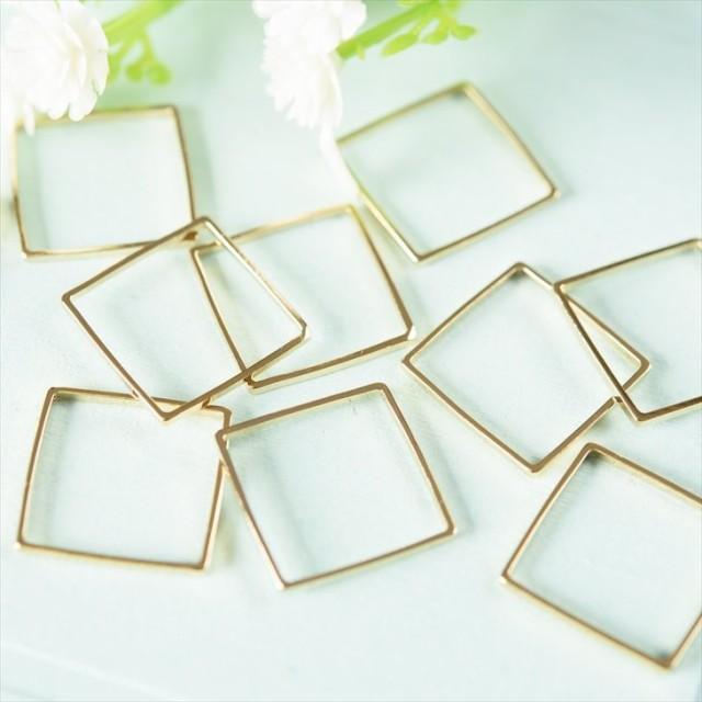 国内本金メッキ製フレームパーツ スクエア(約15x15mm)約10個 ゴールド メタルパーツ ハンドメイド資材 手芸材料 クラフト用品 枠
