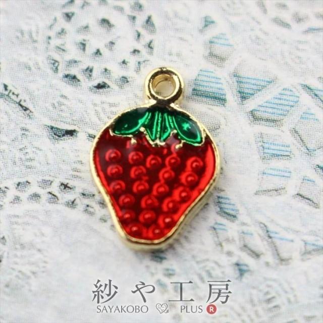 エポチャーム イチゴ(約13.1mmx9mm)赤×ゴールド 1個 いちご 苺 果物 フルーツ カン付き アクセサリー チャーム ハンドメイドパーツ