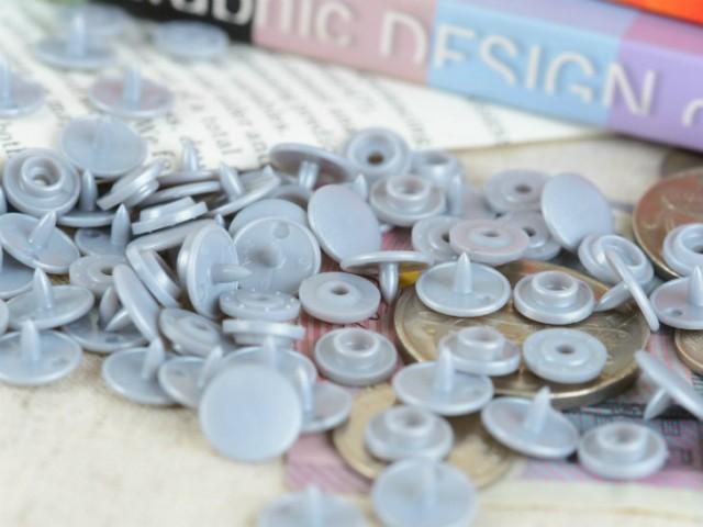 プラスチックスナップボタン(T-3) マットカラー 30組(10mm シルバー) ハンドプライヤー 手芸材料 プラスチック製 ボタン