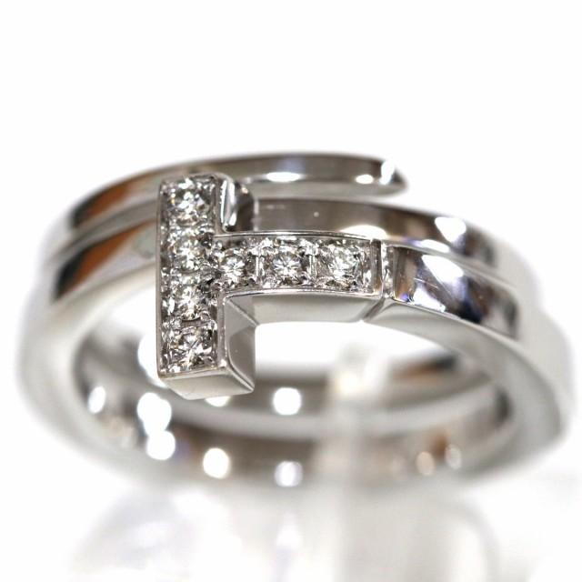 0d655c237 ティファニー Tスクエア ラップ リング ダイヤモンド(K18WG D0.10 #9) ティファニーのK18(750)リング、Tスクエア ラップ リング  ダイヤモンドの中古品です。
