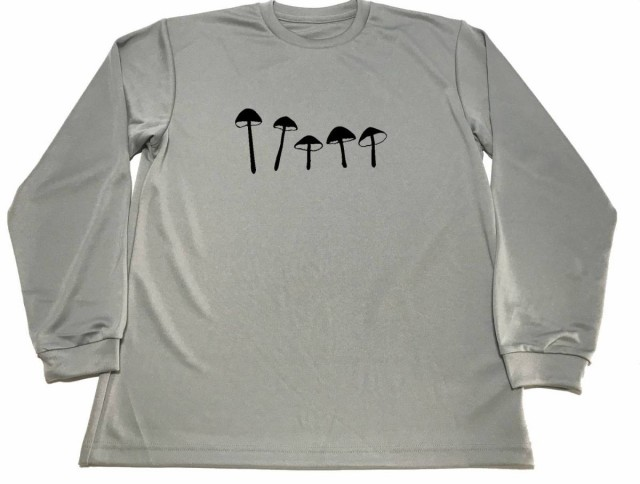 グレー マジックマッシュルーム ドライ Tシャツ キノコ グッズ 幻覚 サイケ トリップ  ロングTシャツ ロンT ロング 長袖