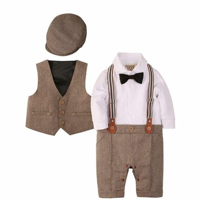 8054e9da2a9cb ... ベビーフォーマル ロンパース 赤ちゃん カバーオール 子供服 結婚式服 ベビー服 紳士スーツ 素材:製品は高品質のオーガニックコットン で作られており、柔らかく着 ...