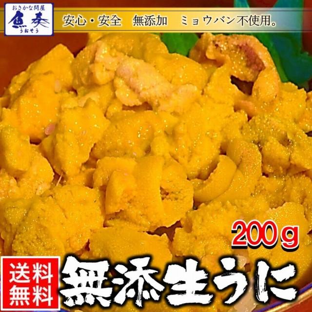 うに 雲丹 ウニ 冷凍生うに 無添加 200g 100g×2パック ミョウバン不使用 安心・安全 うに丼 送料無料 チリ産