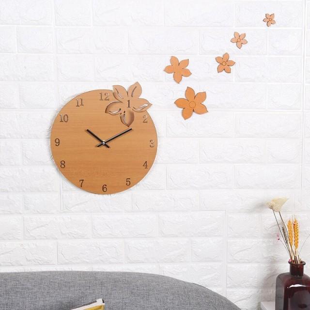 ウッド 木製 フラワー 花 ブラウン ブラック/ 時計 インテリア Clock クロック 壁掛け ウォール ウォッチ オシャレ