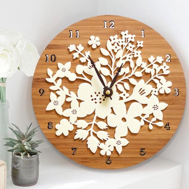 花 フラワー ナチュラル ウッド ロハス 木製 ブラウン/ 時計 インテリア Clock クロック 壁掛け ウォール ウォッチ オシャレ