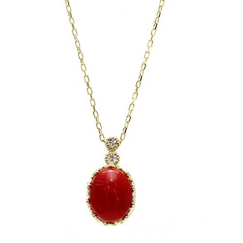 レッドコーラル/赤サンゴ オーバルカボションカット K18 0.03ctダイヤモンドネックレス(血赤珊瑚) 血赤/赤珊瑚/高知・土佐沖/レディー