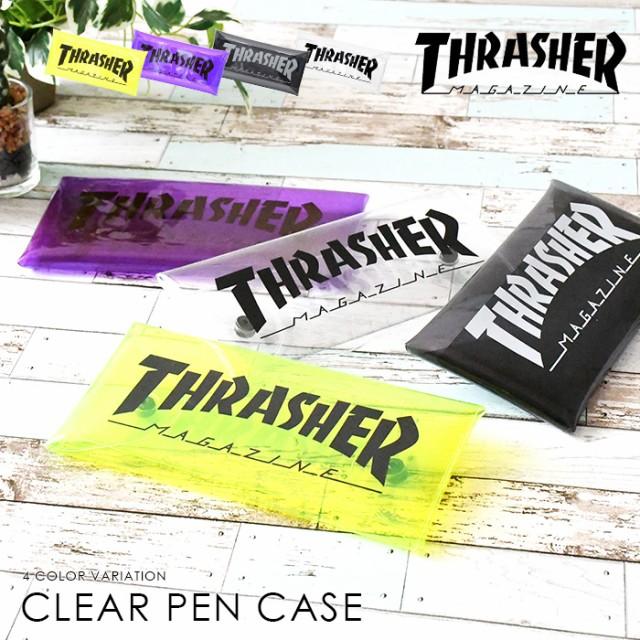 THRASHER スラッシャー PVC クリア クリアペンケース ペンケース 筆箱 筆記用具 クリアケース 透明 ユニセックス 男女兼用 ペン パープル
