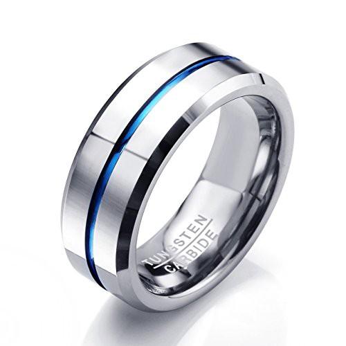 6ebc0e0d14db Jovivi Makタングステン鋼 メンズ リング 指輪 幅8mm 底部に「Tungsten Carbide」刻印 シルバー ブルー ケースやバッグ付  JOVIVI(JP) 13.2cm11.7cm5.3cm 180g ...