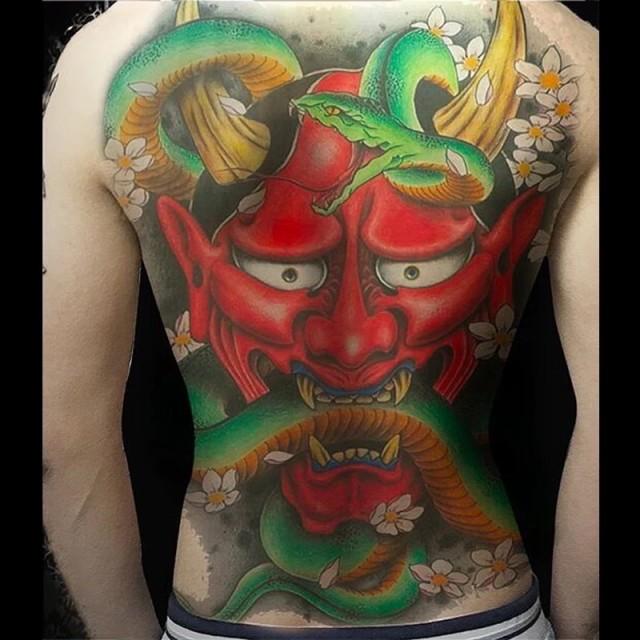 タトゥーシール 背中用 般若 蛇 大蛇 特大版 刺青 入れ墨 文身 tattoo 送料無料 1P